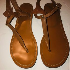 Coach tan leather t-strap thing sandals size 8